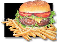 Burger and Hot Chips