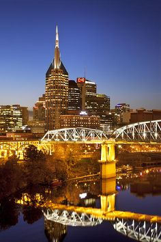 Photographic Print: Twilight over the Cumberland River and Nashville, Tennessee, USA by Brian Jannsen : Tennessee Girls, Tennessee Usa, Nashville Tennessee, Visit Nashville, Nashville Skyline, Great Places, Places To See, Places Ive Been, Beautiful Places