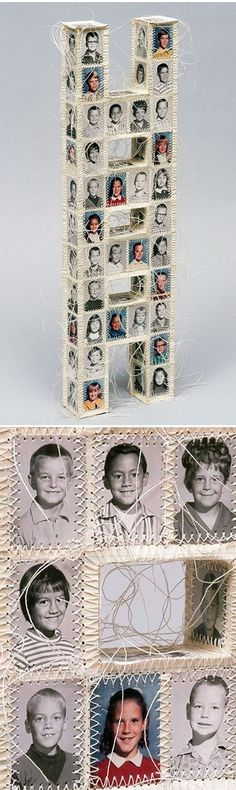 Lisa Kokin's fantastic mixed media work using a sewing machine and yearbook photos.
