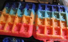 Food coloring rainbow waffles