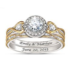 Endless Love Women's Personalized Bridal Wedding Ring Set Jewelry