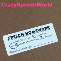 Articulation Homework Labels!