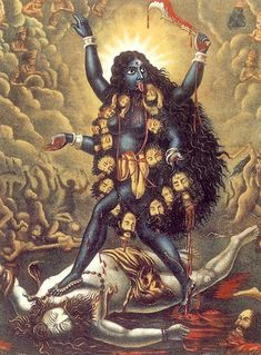 Kali is the dark mother goddess who represents the force of change and transformation in the universe. Her skin is black, like the night sky, or like the oblivion which awaits all living things. Nude but for adornment made of human body parts, Kali wears a skirt made of severed limbs and a necklace of 50 bloody heads, one for each letter of the Sanskrit alphabet. Her nudity is important as it represents her freedom from maya—the illusory false consciousness in which the mortal world is…