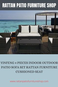 Material: high quality PE rattan. Rust-resistant frame. Ideal for patio, office, sitting room all year around. Removable cushions covers and easy to clean. The table comes with glass (5mm thickness), the glass is a separate package. Rattan Furniture Cushions, Patio Furniture Sets, Seat Cushions, Outdoor Furniture, Outdoor Sofa, Indoor Outdoor, Outdoor Decor, Single Sofa, Sofa Set