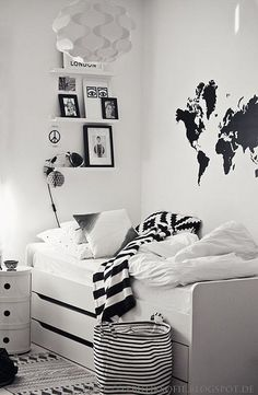 Black and white with the world on the wall. #kids #decor