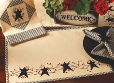 "Stars n Berries Country 54"" Table Runner . $27.95"