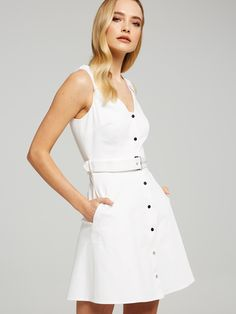Image for Isla Button Through Dress from Portmans Dresses For Work, Summer Dresses, Jumpsuit Dress, Special Occasion Dresses, Latest Fashion Trends, Dresses Online, Work Wear, Fashion Dresses, White Dress