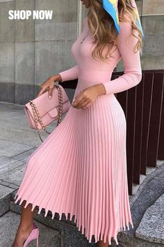 Mid-Calf Pleated Nine Points Sleeve Pullover Women's Maxi Dress - Outfit Fashion Classy Dress, Classy Outfits, Chic Outfits, Dress Outfits, Fall Outfits, Fashion Dresses, Maxi Dresses, Wedding Dresses, Bandage Dresses