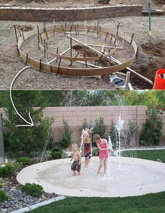 27 DIY Backyard Projects For Summer Are Extremely Cool Build a DIY splash pad so that your kids and even pets can enjoy this fun water feature at home.Build a DIY splash pad so that your kids and even pets can enjoy this fun water feature at home. Backyard Playground, Backyard For Kids, Backyard Patio, Backyard Landscaping, Landscaping Ideas, Backyard Splash Pad, Playground Ideas, Patio Ideas, Backyard Water Fun