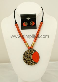 Terracotta Dual Orange Circle Necklace and Earring Set