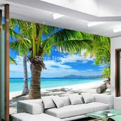 Wallpaper 3D Mural Coconut Palm Tree Beach Sea View Wall Paper Background Decor #Unbranded