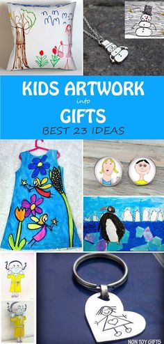 23 ways to turn kids' artwork into gifts. The best gifts you can make for Christmas, Mother's Day, Father's Day, grandparents or family members' birthdays. | at Non-Toy GIfts