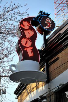5 Spot neon sign, Seattle, Washington by 63vwdriver, via Flickr