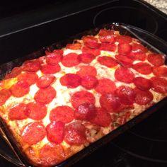Pinterest pizza casserole! So easy!