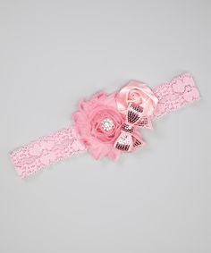 Charlotte Rose Couture Pink Sequin Bow Shabby Flower Headband by Charlotte Rose Couture #zulily #zulilyfinds