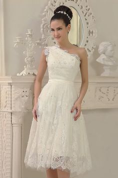 Dressesmall Modern Ivory One Shoulder Short Lace Formal Dress - Dressesmallau.co