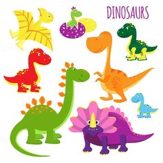 vector icons of baby dinosaurs by Microvector on @creativemarket