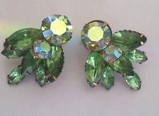 Vintge Spectacular Lime AB Green Rhinestone Juliana HUGE Floral Clip Earrings