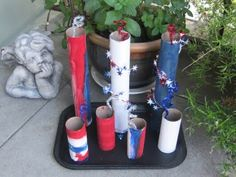 Kids Fireworks Craft using Toilet Paper Rolls and Paper Towel Rolls!  So cute and easy!