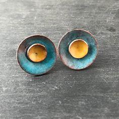 56ba0b3de Deep Turquoise and Sunflower Yellow Copper Enamel Stud Earrings. - My  Cherry Pie