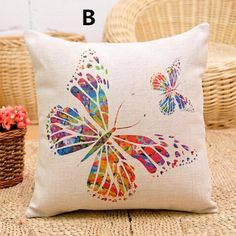 Butterfly pillow hand painted art linen cushions for home decoration