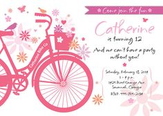 Birthday Garden Party Invitation with Bike for Kids by TBoneSquid