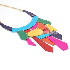 Fashion Multicolor Metal Plates Bib Necklace at Online Jewelry Store Gofavor
