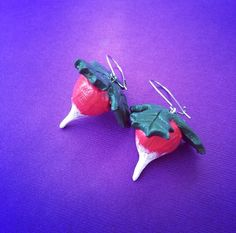 Dirigible Plum Luna's Radish Charm Earrings Harry Potter Inspired Handmade SHIPS FROM USA. I WANT.