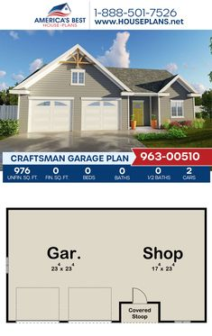 Plan 963-00510 offers a Craftsman garage design with 976 sq. ft. for 2 cars and a workshop. #craftsman #garage #garageplans #architecture #houseplans #housedesign #homedesign #homedesigns #architecturalplans #newconstruction #floorplans #dreamhome #dreamhouseplans #abhouseplans #besthouseplans #newhome #newhouse #homesweethome #buildingahome #buildahome #residentialplans #residentialhome