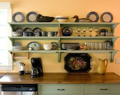 Choosing Easy Shelving Ideas for Your Home Design: Rustic Kitchen Design With Green Wooden Shelves Ideas ~ systink.com Decoration Inspiration