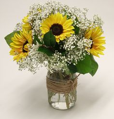 Summer is here. no matter the season. when sunflowers adorn your table! Our Floral Shop can bring you summer any time! Our Wedding, Dream Wedding, White Wedding Flowers, Summer Is Here, 90th Birthday, Sunflowers, Wedding Bouquets, Special Occasion, Glass Vase
