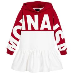 Girls sporty red and ivory hooded sweatshirt dress by Monnalisa, made in stretchy cotton jersey. The designer's name is printed across the front and down the sleeves, with a dropped waist and peplum hem. Polo Outfits For Women, Clothes For Women, Kids Fashion, Winter Fashion, Winter Dresses, Cotton Dresses, White Cotton, Kids Girls, Brother