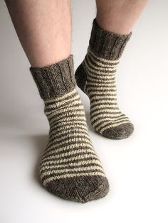 Striped 100 Natural Organic Socks Hand Knitted from by milleta on Etsy