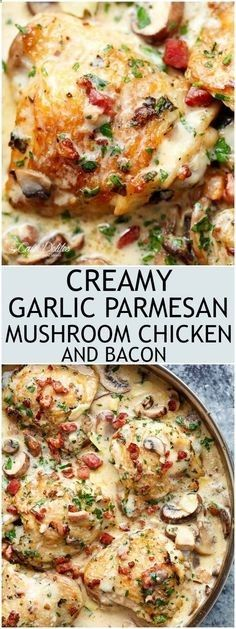 Creamy Garlic Parmesan Mushroom Chicken & Bacon is packed full of flavour for an easy, weeknight dinner the whole family will love! | cafedelites.com
