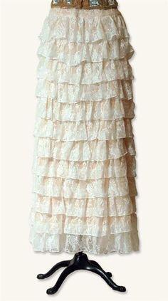 Cream lace layered skirt...