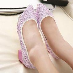 Feminine Sweet Fashion Popular Sequin Pure Color Chunky Heels Sharp Toe Flats