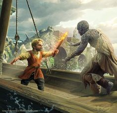 m Gnome Rogue Thief Leather Armor Sword vs Stone Man castle wall Tyrion vs the stone man, art by Joshua Cairos for FFG Game Of Thrones Artwork, Game Of Thrones Books, Game Of Thrones Series, Game Of Thrones Fans, Tyrion Lannister Book, Jaime Lannister, Tyron Lannister, Skins Characters, Heavy Metal