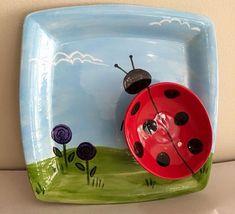 Ladybug Ladybird DIY Chip and Dip Bowl Paint Your Own Pottery ceramic.  Photo originated by http://www.allfiredupstudios.com/