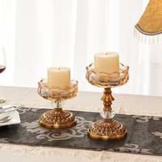 Vintage Europe Crystal Candle Stand Metal Candle holder Ghee Lamp Holder Metal Craft Home Decor Candlelight Dinner Candle Stand