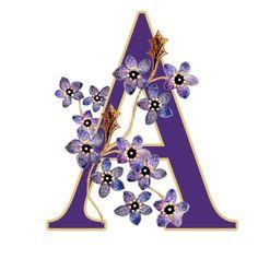 Alfabeto violeta con flores A