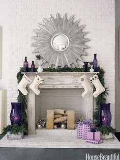 Purple/Violet color accents for Christmas fireplace decor. Purple Christmas, Christmas Colors, Christmas Holidays, Christmas Stuff, Christmas Ideas, Modern Christmas, Holiday Ideas, Christmas Tables, Coastal Christmas