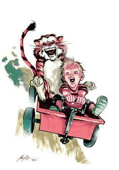 Calvin and Hobbes by *rafaelalbuquerqueart on deviantART