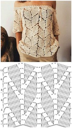 Pull Crochet, Mode Crochet, Crochet Shirt, Crochet Lace, Crochet Stitches, Crochet Dolls, Crochet Collar Pattern, Crochet Diagram, Knitting Patterns
