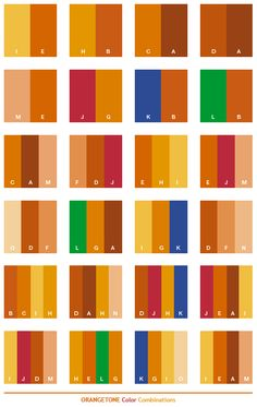Orange tone color schemes, color combinations, color palettes for print (CMYK) and Web (RGB + HTML)