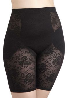Smooth Your Soul Contouring Shorts in Black - Plus Size - Sheer, Black, Lace, Floral, Variation modcloth. gotta smooth everything out
