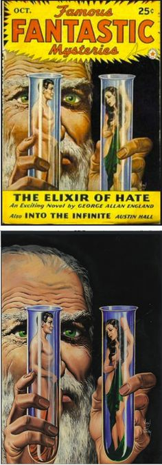 VIRGIL FINLAY - The Elixir of Hate by George Allan England - Oct 1942 Famous Fantastic Mysteries - cover by isfdb
