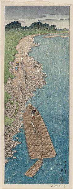 Kawase Hasui (Japanese, 1883–1957) Cloudy Day at Yaguchi Ferry (Kumoribi no Yaguchi)   Museum of Fine Arts, Boston