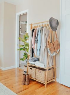 An Easy Storage Solution for a Small Closet. Bamboo clothing rack in bedroom for extra clothing storage. An Easy Storage Solution for a Small Closet. Bamboo clothing rack in bedroom for extra clothing storage. Bedroom Inspo, Bedroom Decor, Master Bedroom, Modern Bedroom, Design Bedroom, Contemporary Bedroom, Gray Bedroom, No Closet Bedroom, Modern Contemporary