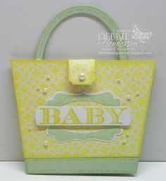 Baby Diaper Bag Card made with Stampin' Up! products by Debbie Henderson, Debbie's Designs. Tutorial included.