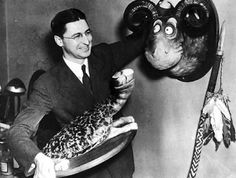 Ted Geisel (Dr. Seuss) with two taxidermy creations, Sea Turtle and The Goo Goo Eyed Tasmanian (photo published in the S.F. Chronicle on March 3, 2004)